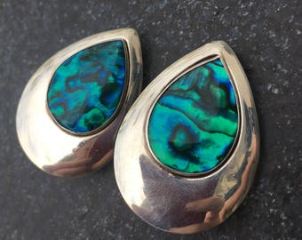Sterling Silver Abalone Earrings   Silver Earrings   Sterling Earrings   Clip Back Earrings   Vintage Earrings   Sea Jewelry   Gifts