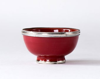 Small bowl with metal edge m Ø 11 CM Red