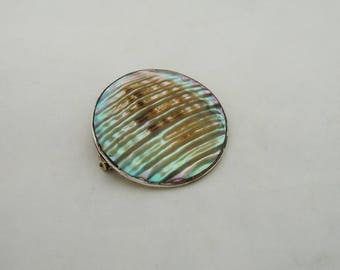 Vintage Taxco Mexico Brooch, Sterling Silver Brooch, Sterling Silver Abalone Brooch