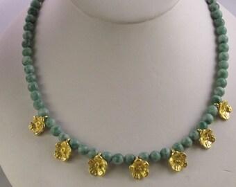 7 Golden Flowers on Amazonite Necklace