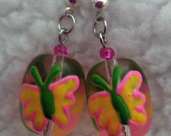 Clear Oval Butterfly Earrings