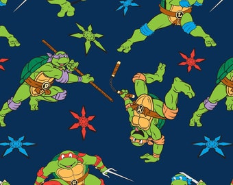 TMN Ninja Turtles, Navy Flannel, Yard