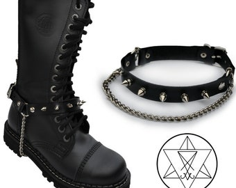 Leather Boot Strap with studs & chains - goth gothic leather boot accessory