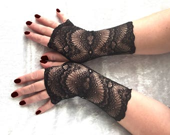 Fingerless  gloves  black  of stretch lace