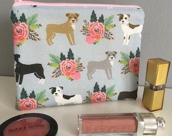 Staffordshire Bull Terrier make up bag. Staffy. Staffie. Bull Terrier. Mother's Day. Dog gift. Animal print. Fabric.