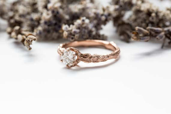 Moissanite 14k gold leaf engagement ring, rustic nature engagement ring, moissanite twig engagement ring, alternative engagement ring