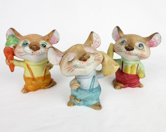 Vintage 1960s 1970s Homoco Mice / Mouse Trio / Made in Japan / Mouse Figurines / Hand Painted Porcelain Ceramic / Mothers Day Gift