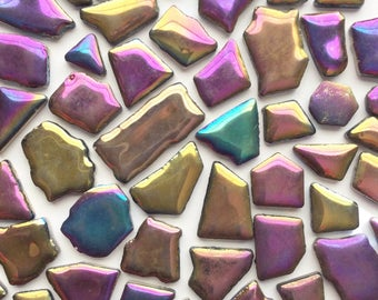 Metallic Purple Blue JIGSAW Puzzles Mosaic Tiles//Mosaic Pieces//Mosaic Supplies//Jewelry//Craft