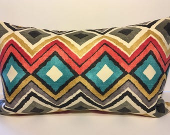 "Aqua Teal Red Orange Grey Black Ivory Gold Geometric Print Decorative Throw Pillow Cover Pillows Square 13""x22"" Rectangle"