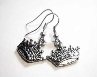 "Crown Earrings Antiqued Silver Queen Earrings 1.25"" Crown Jewelry Silver Dangle Earrings Wholesale Earrings Princess Earrings"