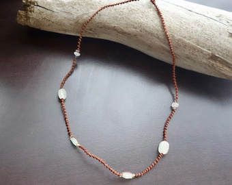 Brown Macrame Chain with Semi Precious Stones | Add Your Own Pendant | 16 inches