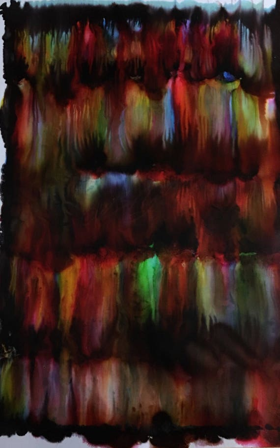 """Large Original Alcohol Ink Abstract: """"Fiery Ambition"""" (23"""" x 35"""")"""