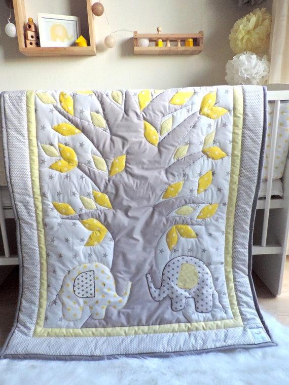 elephant baby boy nursery bedding set elephant grey quilt. Black Bedroom Furniture Sets. Home Design Ideas