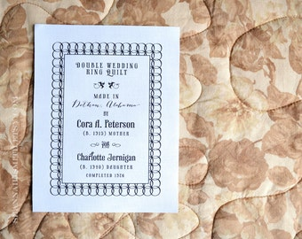 Personalized Heirloom Quilt Label • Double Wedding Ring Pattern • Vintage Style Quilt Patch • Antique Quilt Label