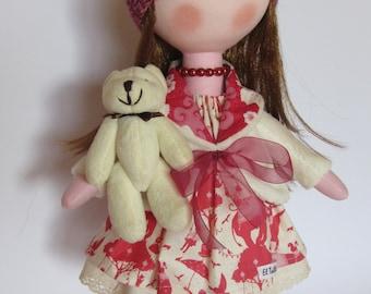 fabric doll, cloth doll, rag doll, custom doll, handmade doll, personalized doll, pink fabric doll, gift ideas, doll for gift, tilda doll