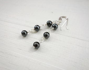 Stone earrings grey hematite earrings minimalist earrings grey stones silver earrings for women