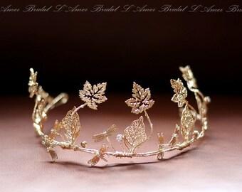 Rustic Light Golden Tiara, Gold Bridal leaf crown, Gold Headband, Golden leaves Headpiece, Greek Goddess, leaves crown, Woodland Head Wreath