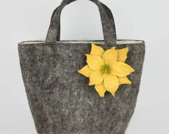 Felted handbag, wet felted bag, fashion bag, womens fashion, grey with flower