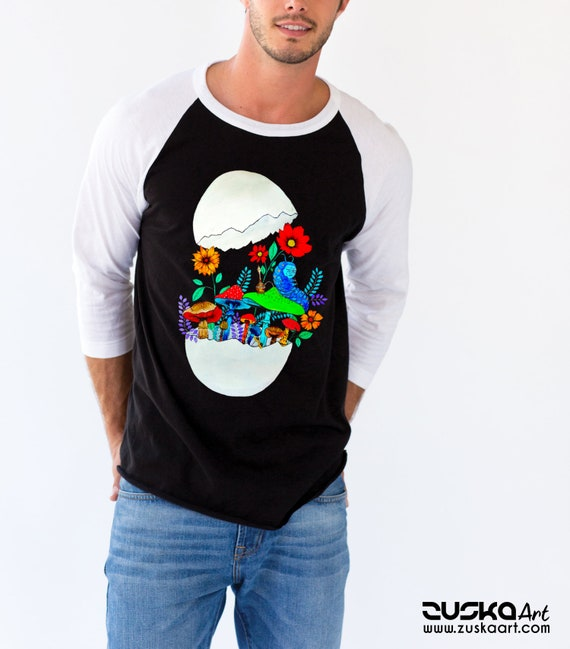 Smoking caterpillar | Unisex Baseball Raglan Shirt | Absolem | Alice in wonderland | Magic mushrooms | Psychedelic art | ZuskaArt