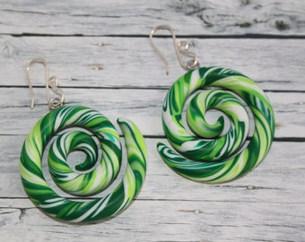 Green twisted snake earring