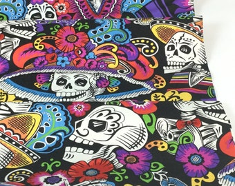 Dia De La Catrina Black Color ~ Folklorico Collection for Alexander Henry, Cotton Quilt Fabric