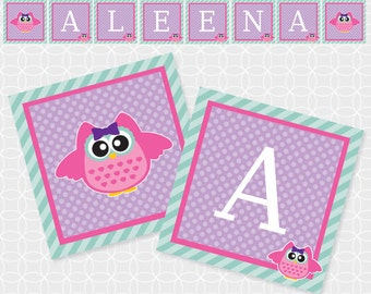Owl Party Banner, Printable file, Personalized