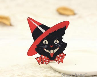 4pcs Wooden Black Cat Charm , Laser Cut Wood Halloween Hat Cat Pendant, Perfect for Necklace Brooch - HW095H