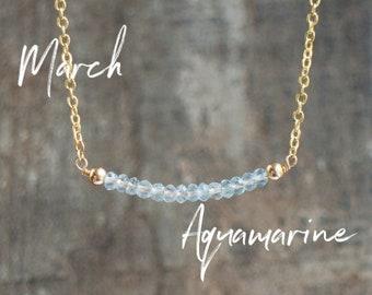 Aquamarine Bar Necklace, Beaded Necklace, March Birthstone Necklace, Birthday Gift for Her, Minimalist Gemstone Jewelry, Aquamarine Jewelry