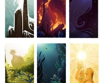 Set of 6 Hawaiian God Prints