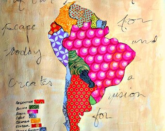 """South America Collage Map Mixed Media Floral Art  9"""" x12"""" Watercolor Paper Original World Peace Quote Prayer"""