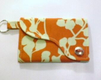 Tri-fold Credit Card \/ Business Card Holder\/ Keyfob  made w\/ Amy Butler fabric Clay Coriander