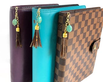 Louis Vuitton Planner Agenda Charm with Upcycled Authentic Monogram Canvas and Turquiose