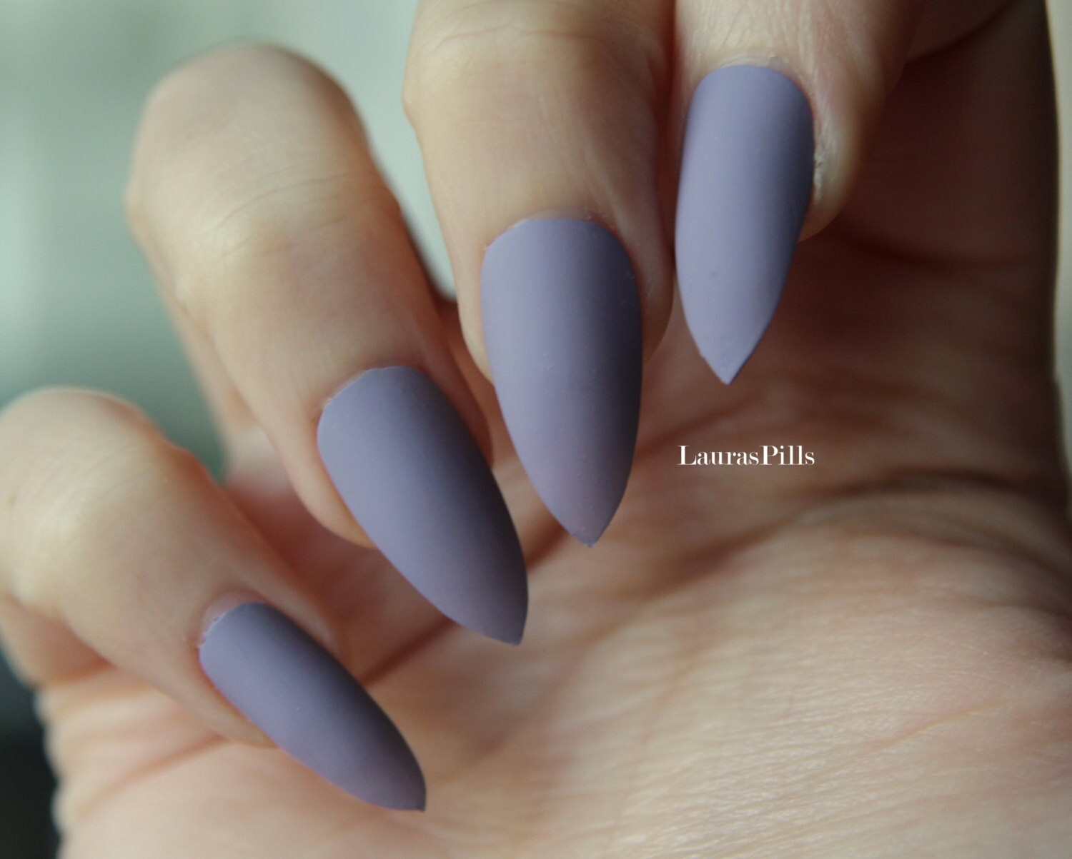 Grey purple stiletto false nails Matte or glossy Nude Beige