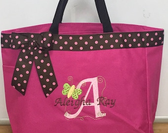 Monogrammed Butterfly Diaper Bag Tote Personalized