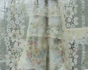 Ivory floral dress wedding tiered lace   tulle  vintage  boho  bride outdoor  romantic small/medium   by vintage opulence on Etsy