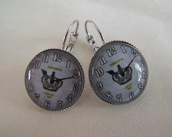 SALE earrings cabochon 20mm glass Crown