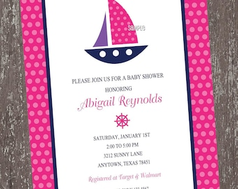Pink Nautical Baby Shower Invitations