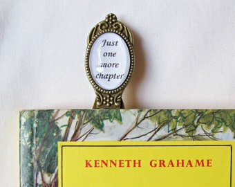 Bookworm Quote Bookmark - Just One More Chapter Book Clip - Typography Reader Teacher Gift