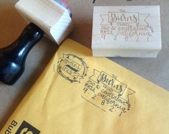 Custom hand lettered wooden rubber address stamp