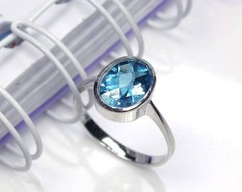 3.9 Natural london blue topaz ring sterling silver wedding ring.