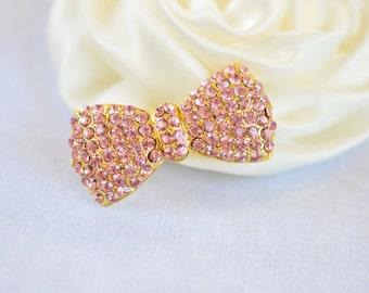 Pink Gold Rhinestone Flatback Crystal Bow Embellishment Flatback Button DIY Jewelry Hair Bridal Wedding Gift Craft Supplies