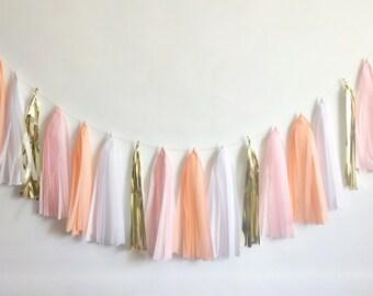 Blushing Bride tassel garland peach pink gold