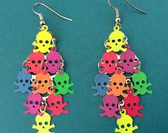 Skull earrings. Neon earrings. 80s earrings. LONG EARRINGS. Rocker earrings. Rainbow earrings. Dangle earrings.  Skull jewelry. Goth jewelry