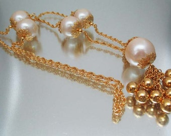Wunderschöne große klobige Faux Perlenkette Gold Perlenquaste