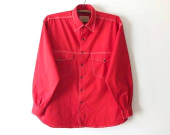 Bright Red Men's Work Shirt French Workwear Clothes Long Sleeve Uniform Shirt Work Button Up Industrial Clothing Size XL Large Work Shirt