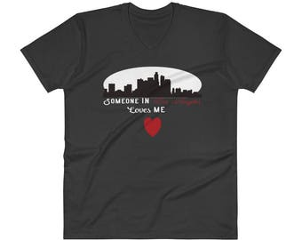 Valentine's Day Someone In Los Angeles Loves Me V-Neck T-Shirt