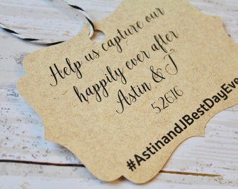 Wedding Favor Tag Happily Ever After, MEDIUM, Favor Tag, Gift Tag, Weddings, Hashtag Wedding