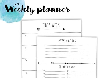 """Personal/medium size undated WO1P + weekly NOTES and LISTS printable planner inserts 