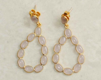 Pink chalcedony sterling silver gold plated handmade earring