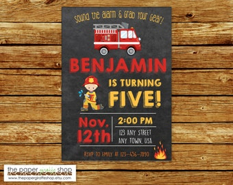 Firefighter Invitation | Firefighter Chalkboard Invitation | Fire Truck Invitation | Fire Truck Birthday Party | Firefighter Party